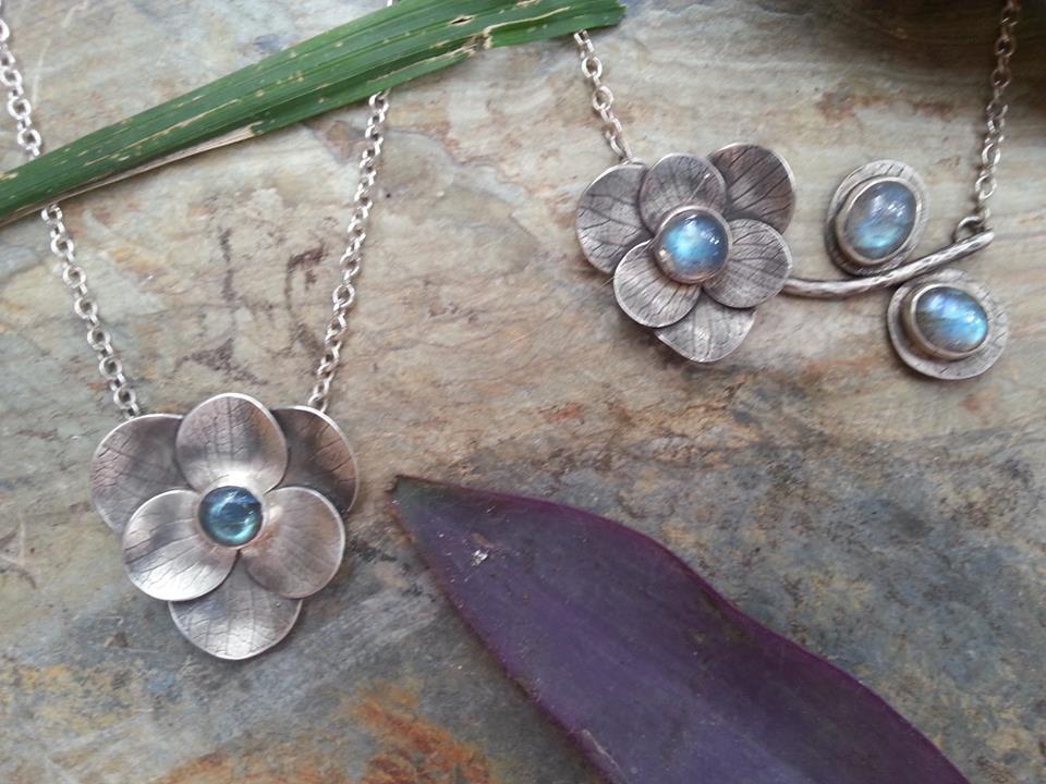 hydrangea bloom & labradorite