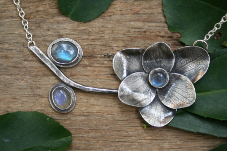 Hydrangea Bloom and Branch with Labradorite
