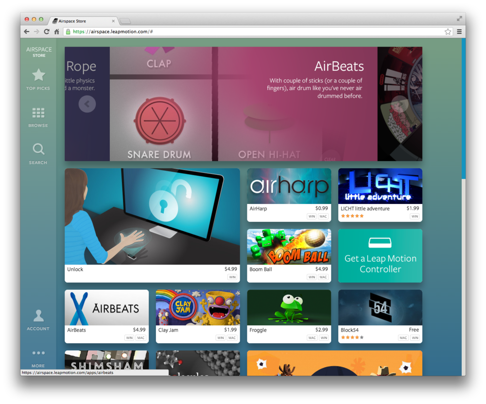 AirHarp and AirBeats featured in the Airspace store