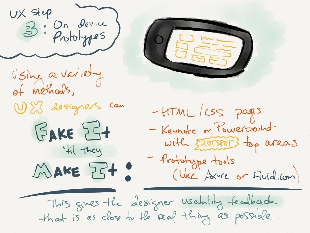 UX slide 4: on-device prototypes