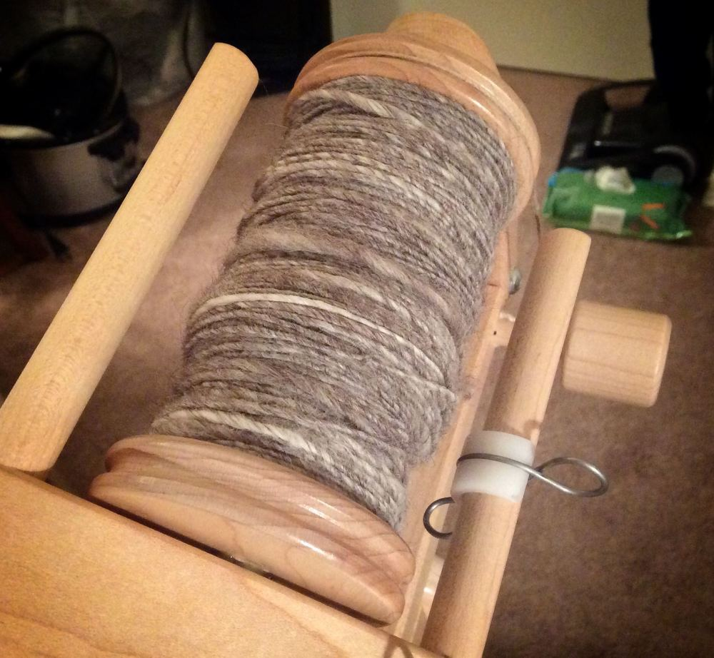 One bobbin full of the single. I spun one more bobbin just like this and then plied them.