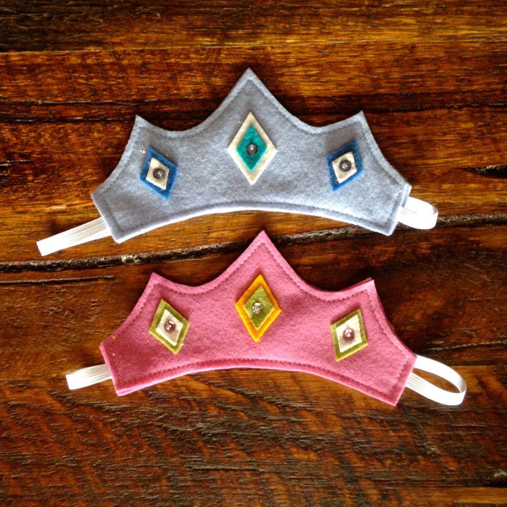 pink and blue felt princess tiaras