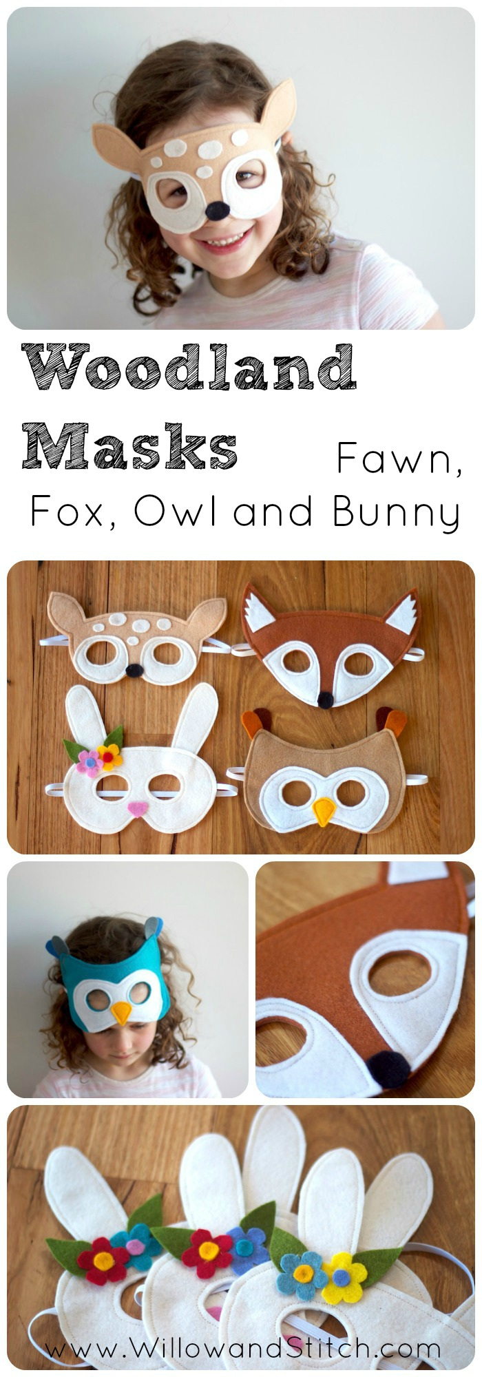 Woodland Creatures Felt Mask PDF Sewing Pattern - Fawn, Fox, Owl and Bunny