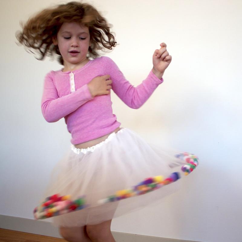 A pom pom filled Tutu for Kids Clothes Week by Willow & Stitch