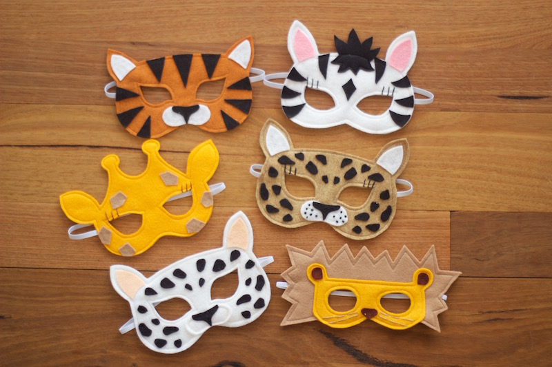 Wild Things - Safari Felt Animal Mask PDF Sewing Pattern from Willow & Stitch