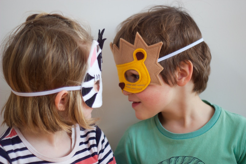 Wild Things - Lion and Zebra Felt Animal Mask PDF Sewing Pattern from Willow & Stitch