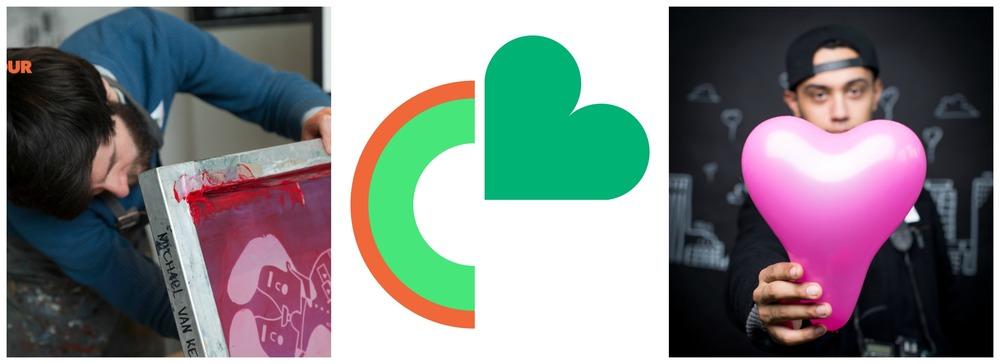 Links is Michael van Kekem een Valentijnsprint aan het zeefdrukken en rechts wordt fotograaf Uriel op de foto gezet door Karen van Gilst.