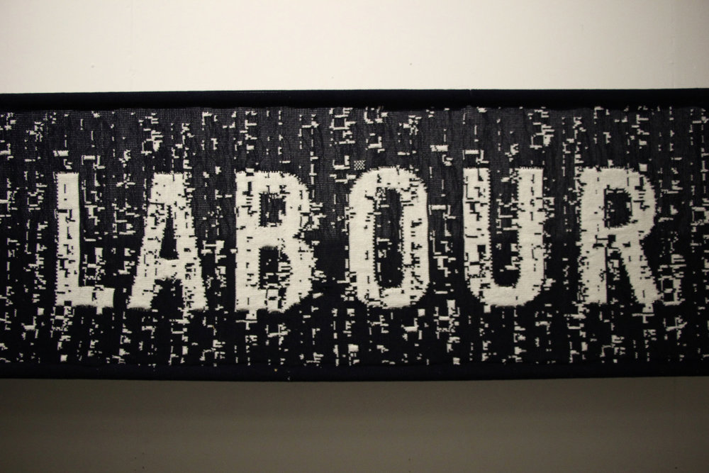 Punchcard Economy, Sam Meech, 2013. ODI: 3.5 x 0.5m knitted banner, FutureEverything: 5 x 3m knitted banner & knitting machines.
