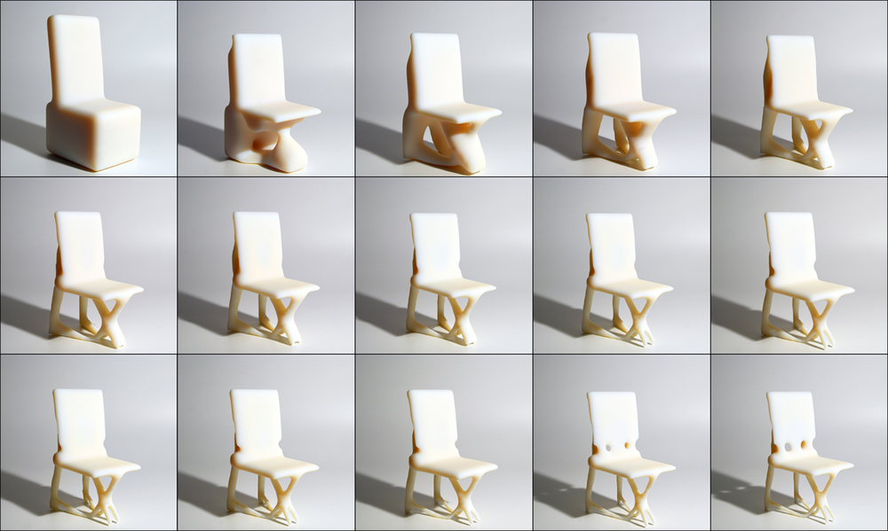 Figure 2: Features of the chair become more refined during each subsequent step through the topology optimization process.