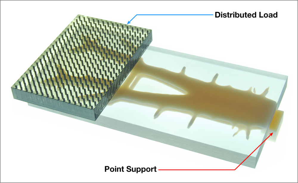 Figure 10: A 3d printed diagram showing the cantilevered load and support structure.