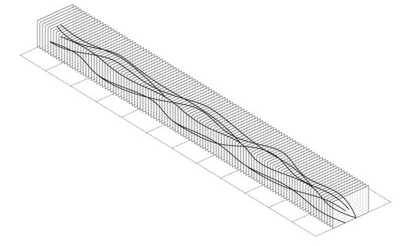 "STEP 2: A set of planes are created at 10½"" O.C. along the full length of the curve network. The distance between each plane, which controls the spacing between each rib, can be updated by changing a numeric slider."