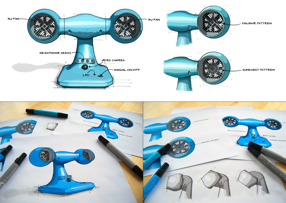 Conceptual sketches of the Smart Fan.