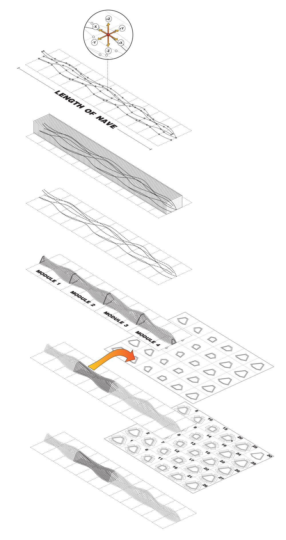 The six steps above illustrate the parametric logic behind the Grasshopper definition that was used to generate all of the vertical MDF (medium density fiber-board) ribs and horizontal HDPE (high density polyethylene) panels for the armature.  Every section of the installation  is unique and numbered in sequence, allowing the installation to be easily assembled or disassembled in less than 3 hours per module.