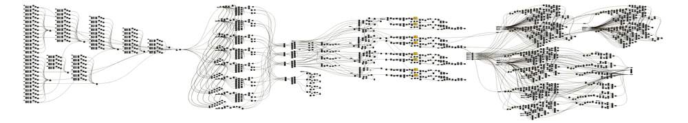 A zoomed out view of the entire Grasshopper definition used to create the Flux installation (Grasshopper version 0.5.0.99).