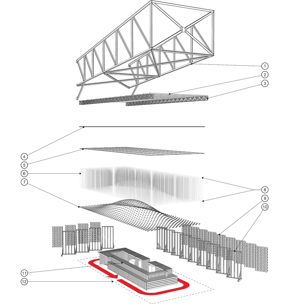 "Axonometric drawing of the pavilion showing the various elements including: 1) existing truss 2) steel schedule 40 pipes at 3'-0"" o.c. 3) aluminum box truss 4) 2'x4' T-bar structural ceiling 5) peg board panels 6) monofilament 7) wide-mouth lid and ring 8) velcro and earring back connection detail 9) mason jars 10) 2x4 wall module 11) pickle bar 12) limits of construction."