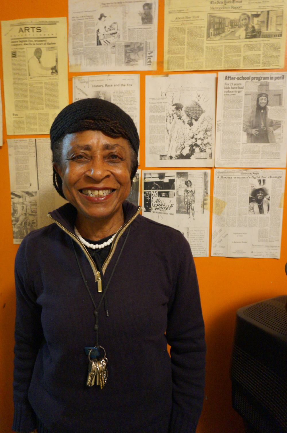 Hetty Fox, PhD,  has lived on the same block in the Bronx for over 70 years.  She has run a community play street on her block for over 37 years.  She is an activist, a conga player, and a visual artist.