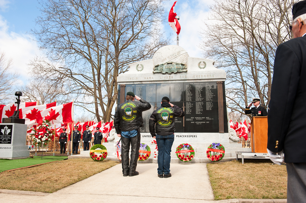 The Devils Regimen Salute the Cenotaph after laying down a wreath.