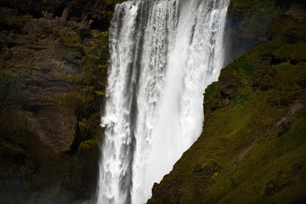 Another shot of Skogafoss up close just before I started to climb the stairs to the top.. there's a bird in this image near the middle.. these birds are constantly flying around and hanging out on the ledges and cliffs.