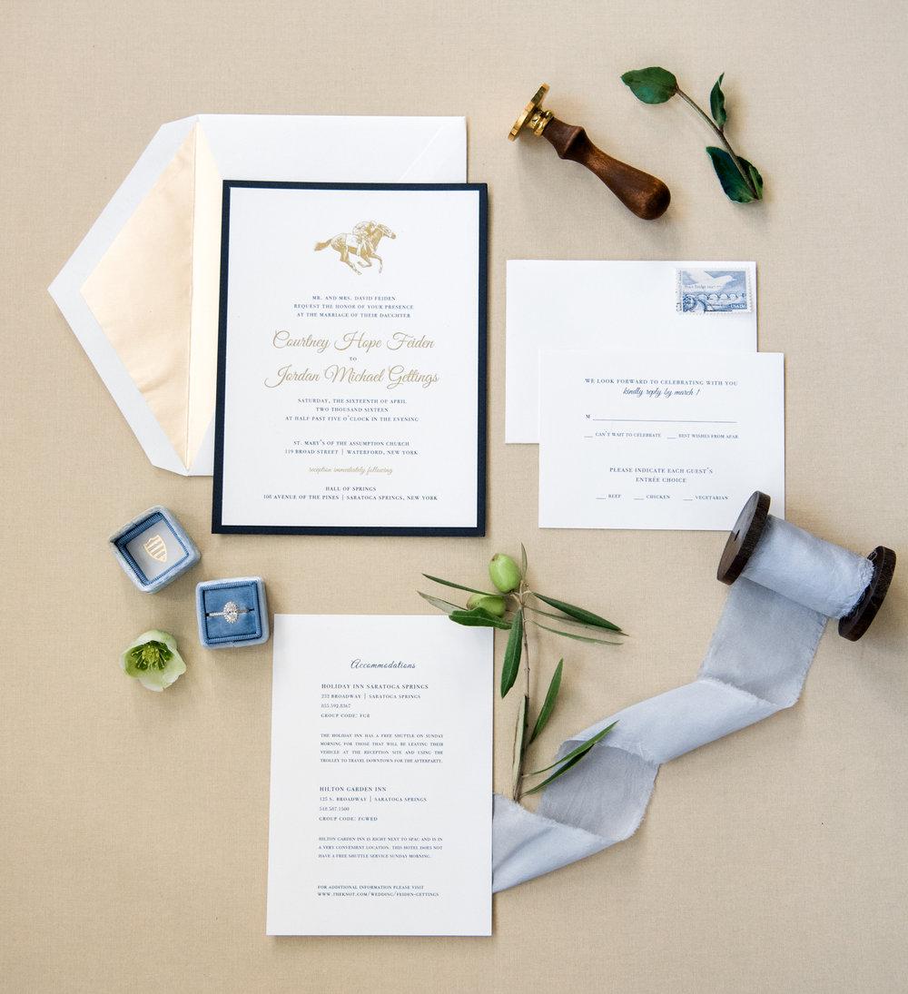 Courtney and Jordan's wedding invitation suite