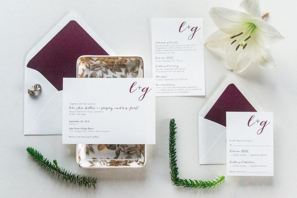 Lara + Greg's wedding invitation suite