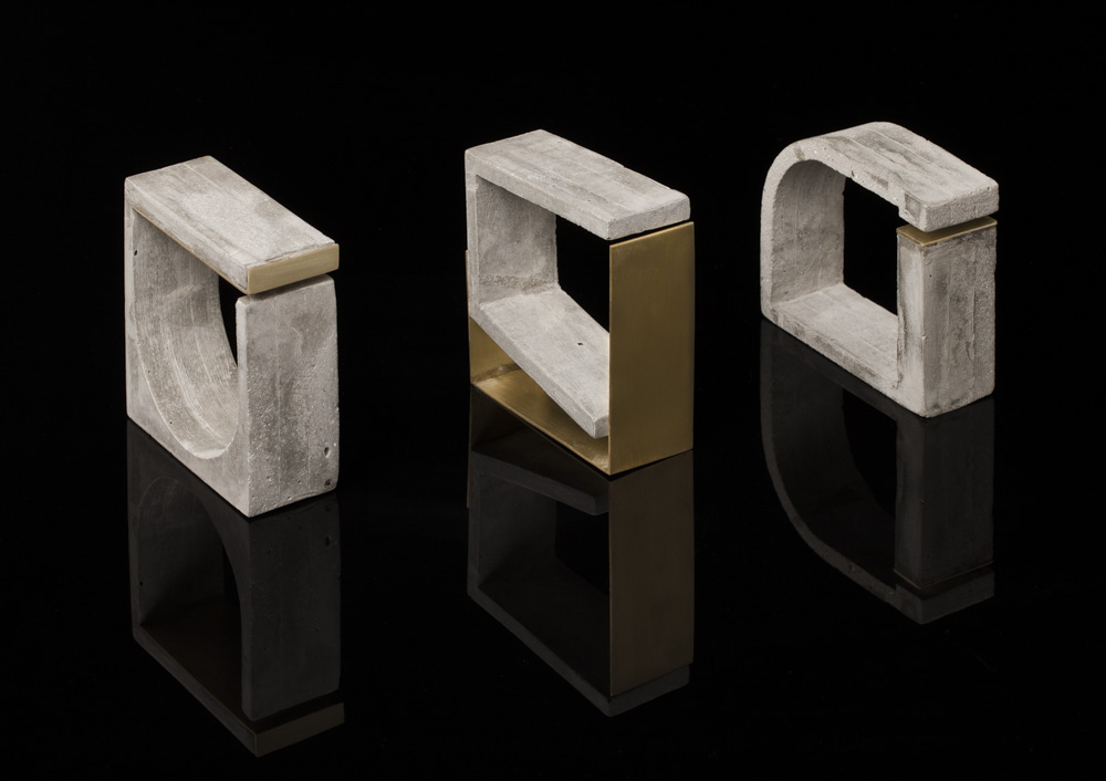 FORM MATTERS 100  -    Concrete, brushed brass, 0.015ct black diamond. Size:   78 x 78 x 30mm        FORM MATTERS 200 -    Concrete, brushed brass. Size:   78 x 78 x 30mm        FORM MATTERS 300 -    Concrete, brushed brass. Size:   86 x 72 x 30mm