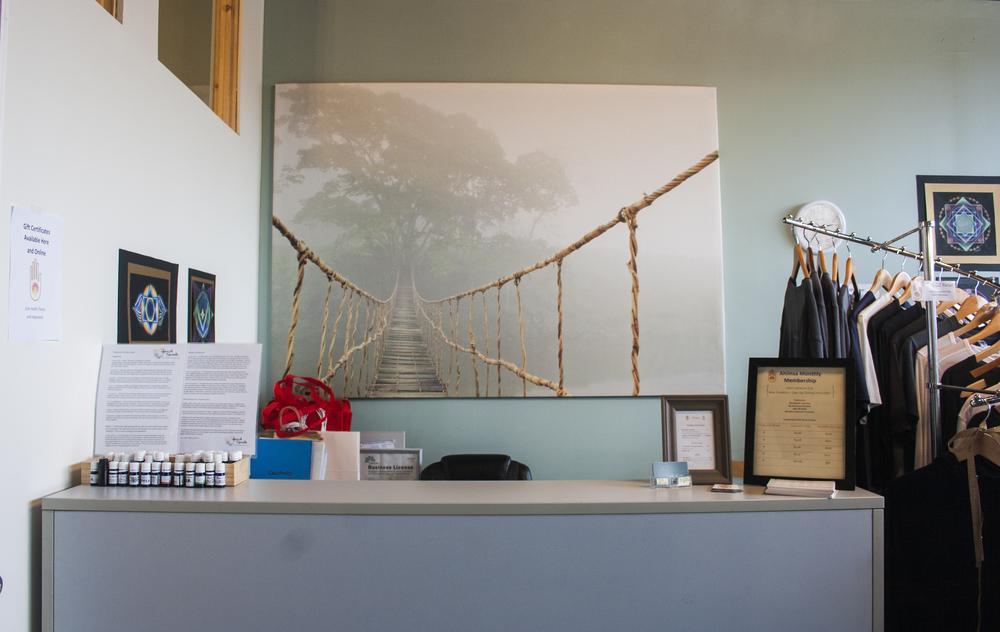 The front desk at Ahimsa.