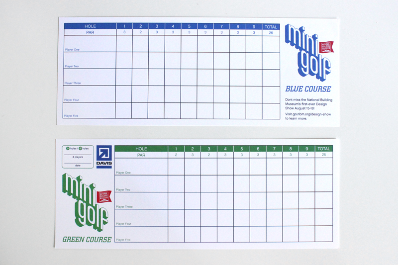 The 2013 scorecard: one side for each course.