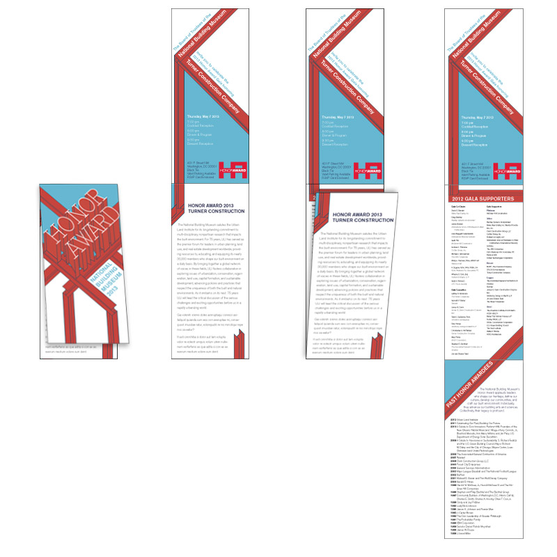 In keeping with the construction concept and because Turner is well known for building skyscrapers, the proposed invitation would fold vertically, like a skyscraper growing upward.