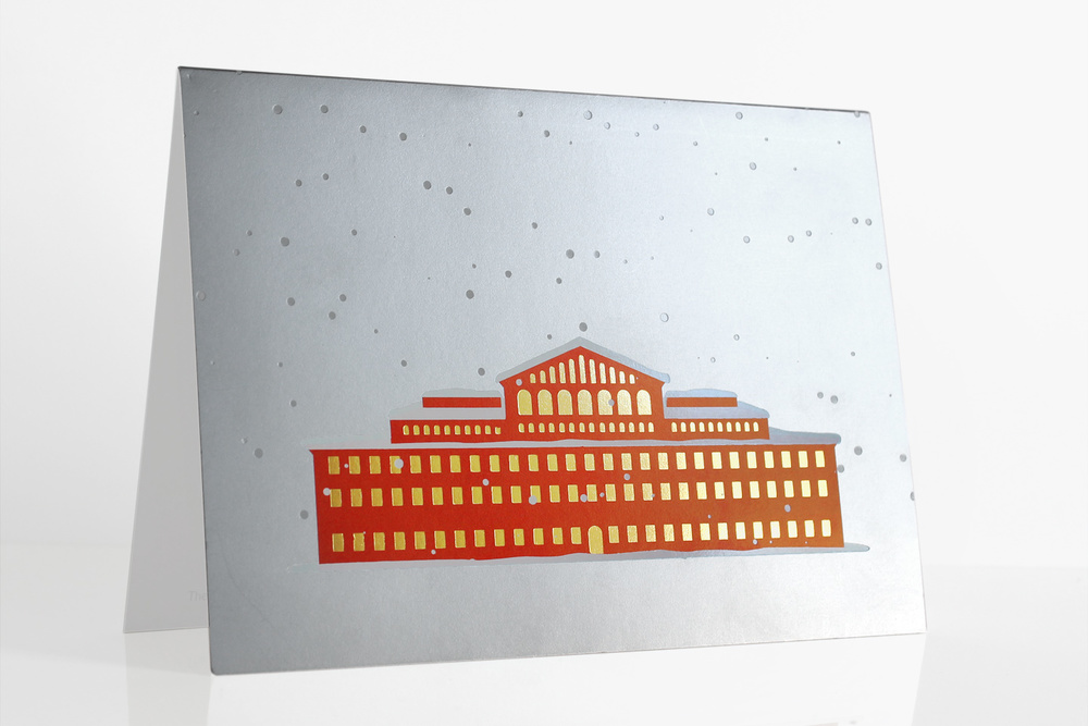 The Museum hosts a holiday party for its most generous supporters, and requires a festive card design unassociated with any one religious holiday. I designed an invitation showing the building in snowfall with a gold foil for the windows exuding warmth and liveliness inside.