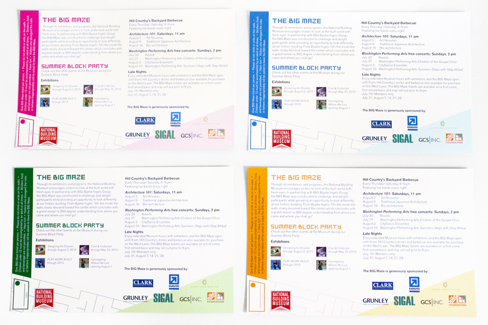 Four different styles for the admission card backs correspond with each maze design on the front and advertise the Museum's summer programming.