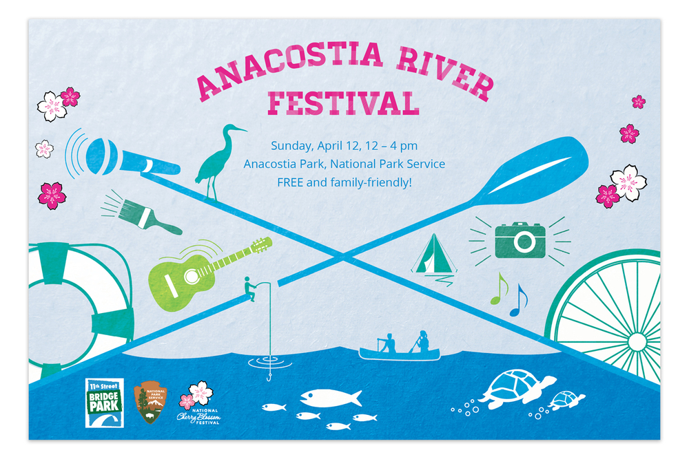 "Postcards were a primary vehicle for promoting the festival. In this design, icons interacting within the spaces of the ""bridge"" showcase the festival activities and wildlife of the river."