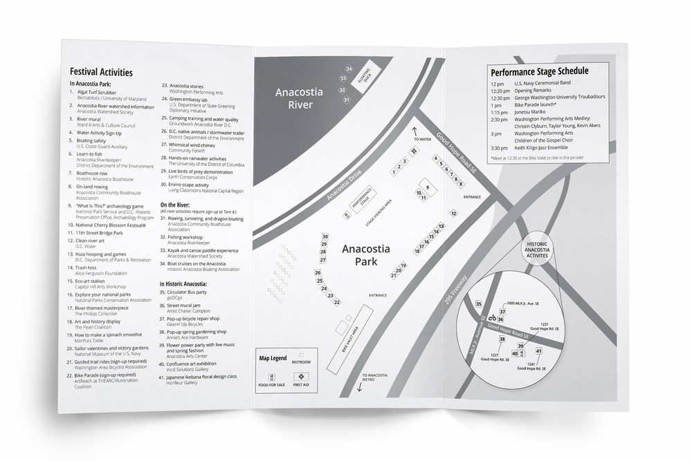 The festival program included a detailed map of activities, spread out over three main locations.