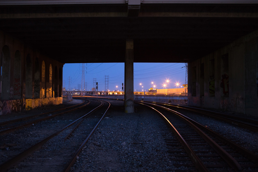 Train tracks in Los Angeles.  Just North of the LA River