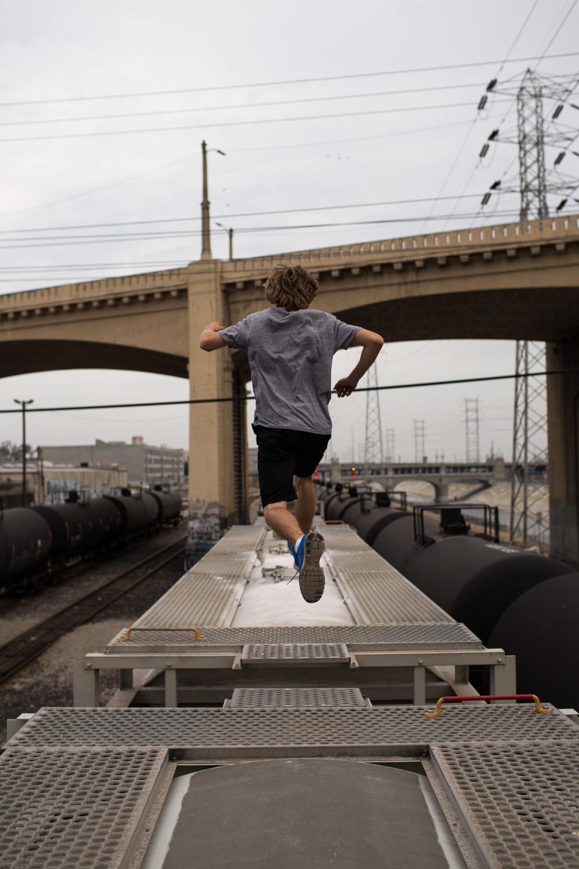 Los Angeles Train Tracks, Jumping