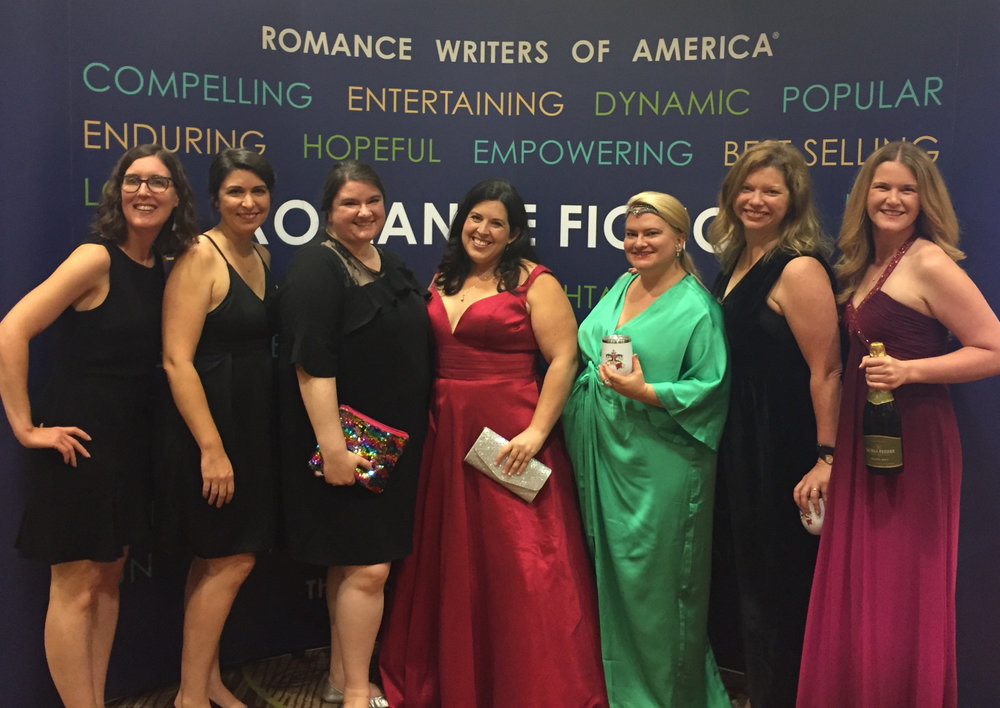 "We got to snag a pic with Lexi before the ceremony began--and before I took my hair down from its ""curling bun"". My sparkle rainbow clutch (a pencil pouch from Target) was definitely on point. (L to R: Mary Chris Escobar, Alexis Anne, Alexandra Haughton (aka me!), Lexi Ryan, Laura von Holt, Lindsay Emory, and Julia Kelly.)"
