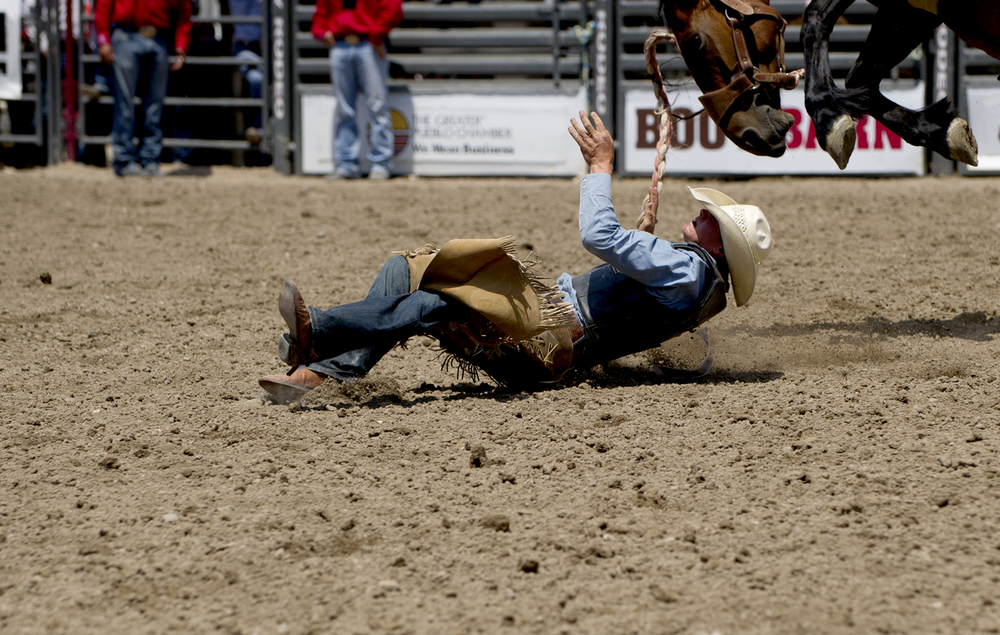Matthew Ellender falls off his bronc during the Little Britches Senior Saddle Bronc competition Saturday, July 27 2013 at the Pueblo State Fairgrounds.