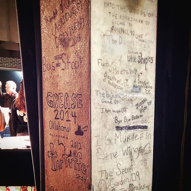 My mom went back to my high school recently and sent me this picture. It's a pillar backstage in the auditorium on which we commemorated our productions. Nice to see some of mine are still up there — I Hate Hamlet, Footloose, Death of a Salesman, Little Shop, Streetcar, Bye Bye Birdie, Jekyll and Hyde — and that the tradition has continued. Tomorrow, I open another off-Broadway show. Life's terrifying and unpredictable, but sometimes you come across these little resonances, and it's good to honor them. #tbt