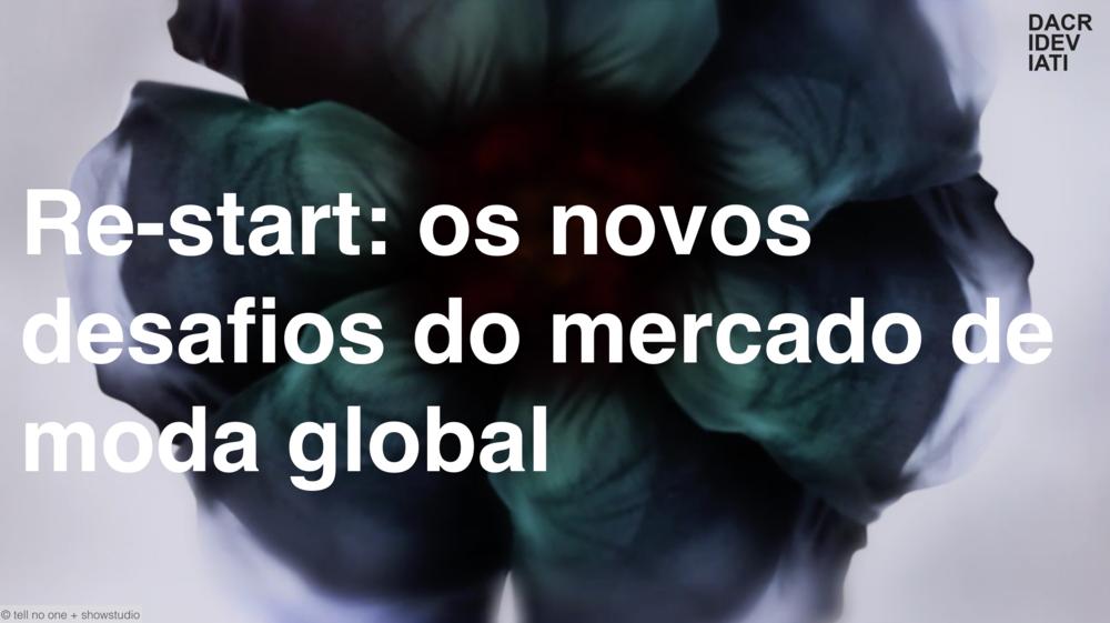 RE-START: os novos desafios do mercado de moda global @ FASHION BUSINESS -  RIO DE JANEIRO_out 2015   O mercado de moda mundial passa por mudanças profundas que geram instabilidade e preocupação. Clientes viram designers; lojas de varejo, áreas sociais;e a logística virtual, uma necessidade irreversível para o varejo. Estamos no momento de repensar estratégias vigentes para nos comprometermos de forma produtiva com o futuro da moda nacional. Palestra realizada para compradores, criadores e varejistas durante o evento Fashion Business no porto do Rio de Janeiro.