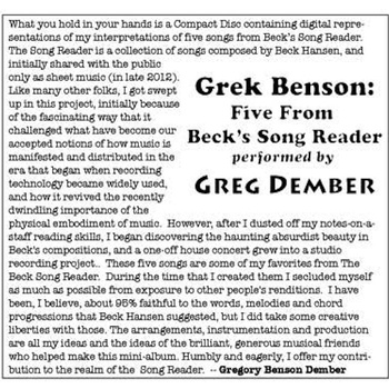 Greg Dember - Five Songs from Beck's Song Reader
