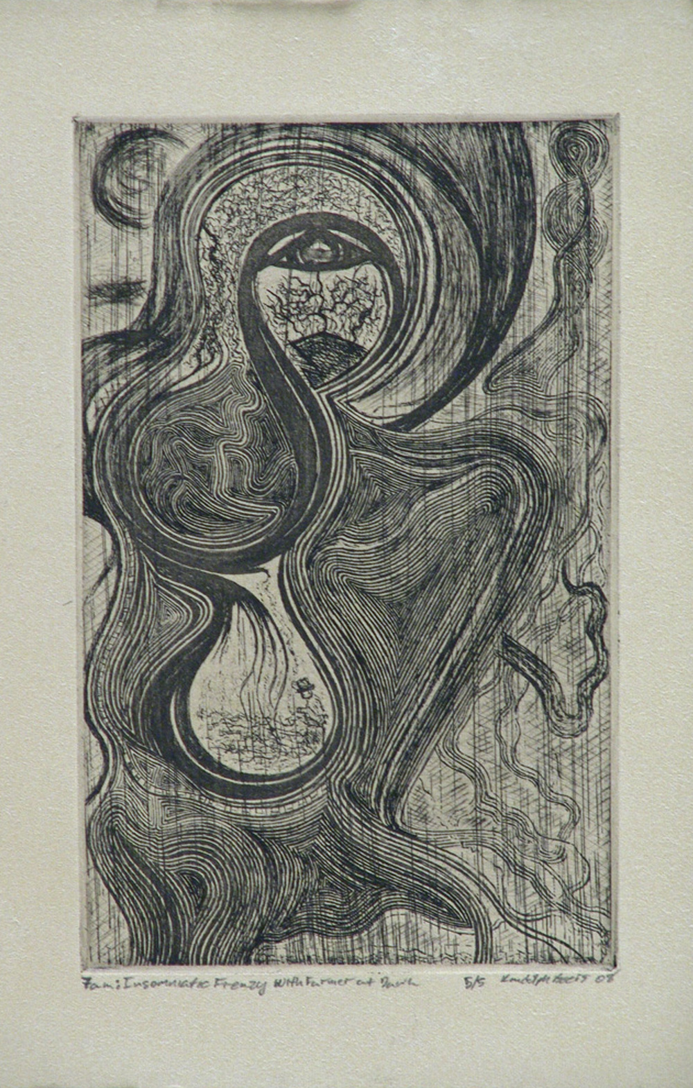 7 a.m. Insomniatic Frenzy with Farmer at Dawn, Intaglio, 6%22x4%22, 2008.jpg