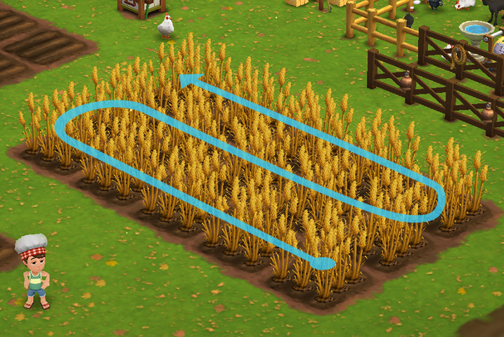 In FarmVille 2 we utilized click-and-drag to queue up similar tasks. Now harvesting is a single click.