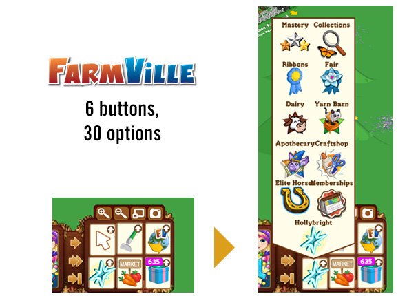 FarmVille's tools menu has six buttons that hide 30 (often unrelated) choices.