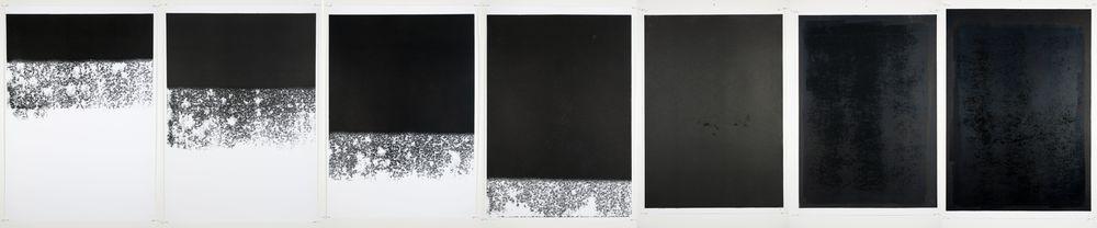 Black Out White , Monotype On Cartridge Paper, 70x100cm (x7), Photograph Alan Sams