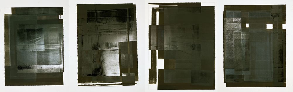 Four Modular Fallacies, Monotype On BFK Reeves Paper, 50x67cm (x4), Photograph Stephen Iles