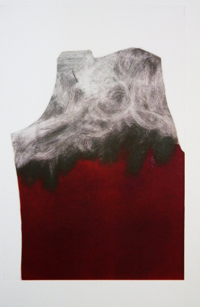 Exercise in Black and Red, Monotype On Cartridge Paper, 43x65cm, Photograph Alan Sams