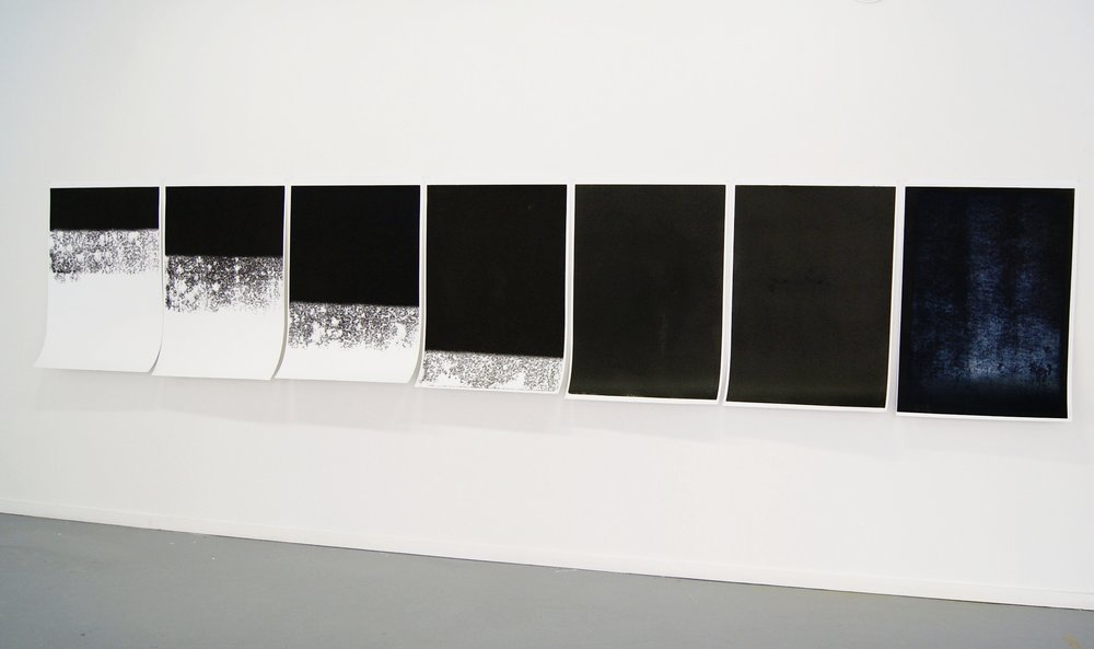 Black Out White , Monotype On Cartridge Paper, 70x100cm (x7), 2010