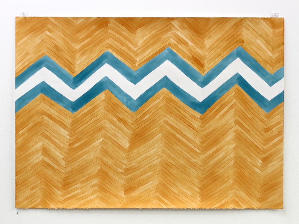 Khāne / Home (for Enayat) - Léuli Eshraghi, acrylic on Fabriano paper, 100 x 71cm, 2014
