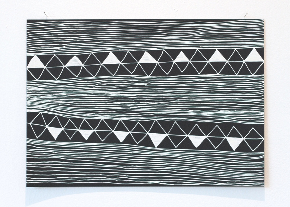 'O tupuga / Ancestors, Léuli Eshraghi, ink on card, 21 x 29.5cm, 2014
