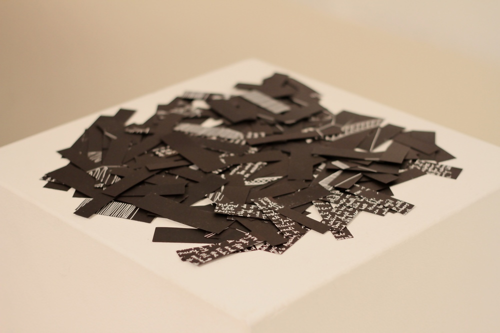 Untitled (Tea leaves), ink on card on plinth, dimensions variable, 2014, image courtesy Jeremy Davis