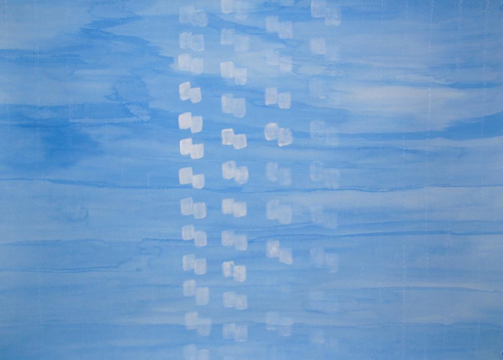 E timu nei i Tahunanui i Aotearoa | Rain today in Aotearoa, Léuli Eshraghi, acrylic on Fabriano paper, 100 x 71cm, 2012